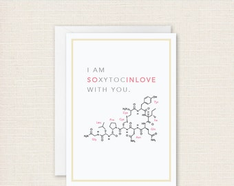 Nerdy Printable Love Card DIY Greeting Card for Valentines or Anniversary | DIY Valentine Greeting Card | Oxytocin greeting card