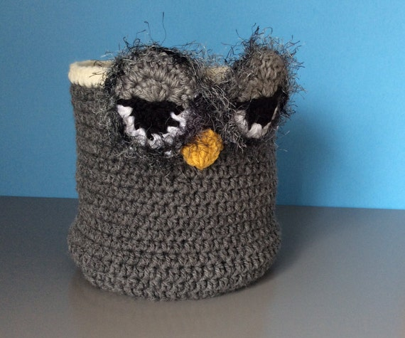 Hooty Owl Crocheted Stash Basket, Storage Owl Basket, Basket for ...