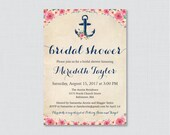 Nautical Bridal Shower Invitation Printable or Printed - Floral Nautical Bridal Shower Invites - Navy Anchor Bridal Shower Invitations 0020