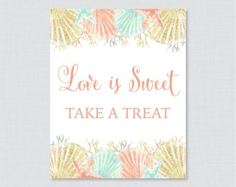 Love is Sweet Sign for Nautical Bridal Shower - Printable Coral & Aqua Nautical Shower Favor Table Sign - Love is Sweet Take a Treat 0012-C