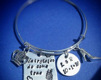 Fairytale Bracelet, Anniversary Gift, Wedding Gift, Gift for her, Bangle Bracelet, Hand stamped, Personalized, Fairytales do come true