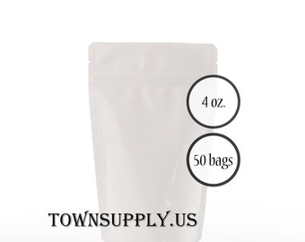 50 - 4 oz matte white stand up pouches, foil lined storage bags, food grade product packaging, resealable ziplock, wedding party favors