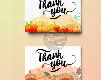 Printable Pumpkin and Acorn Thank You Cards (INSTANT DOWNLOAD)