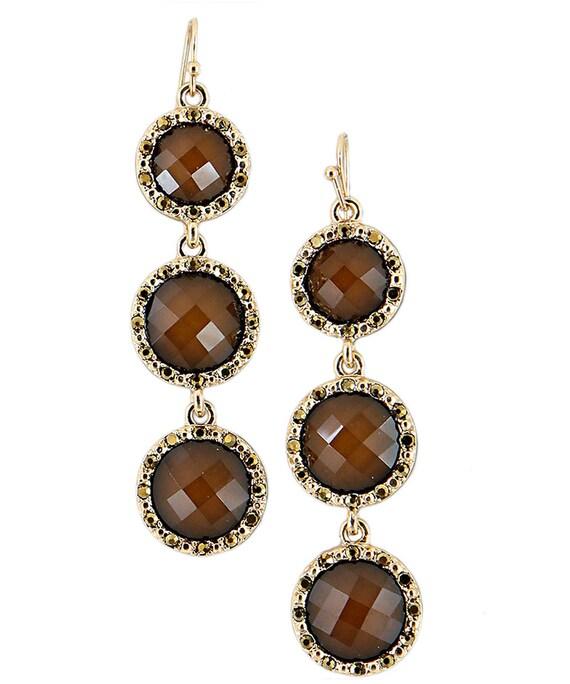 Brown Crystal  Drop Earrings Triple stones
