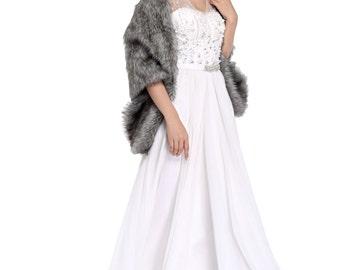 HailieBridal Sleeveless Gray Faux Fur Bridal Wrap Shawl