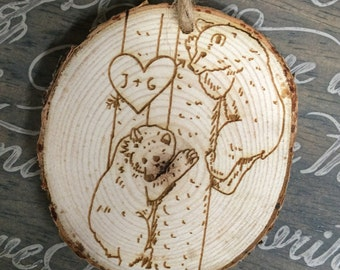 Bear Tree Love Ornament, Personalized Christmas Ornament, Engraved Christmas Ornament, Christmas Ornament, Couples Gift, Wedding Gift