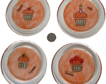 Cupcake Coaster Set, Glass Painted Coasters, Set of Glass Coasters, Hand painted Coasters, Drink Coasters Set, SALE item