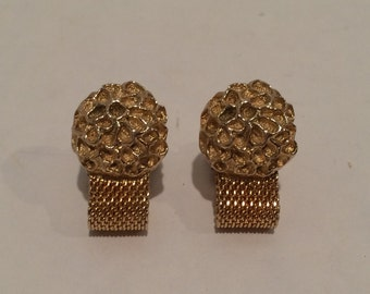 Vintage Swank gold nugget/rock/fossil/flower wrap around cufflinks