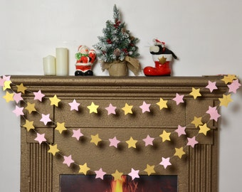 Christmas star garland gold pink Baby Shower garland Fireplace garland gold pink Decor Paper garland Gold party girl's birthday party decor