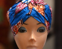 African Print Head Wrap| BLUE | PRESEWN Ankara Turban| Ethnic African Wax Print Wrap Head Wear Gele African Headdress | Ready to Wear Cap