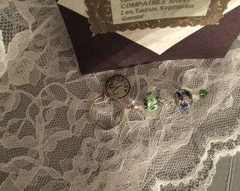 Aries Keychain,Glass Beads,Green,Aries Charm,Birthday Gift