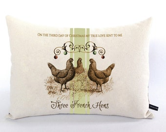 Three French Hens pillow cover Third Day of Christmas holiday song cotton canvas 12x16 decor cushion gift #504 FlossieandRay