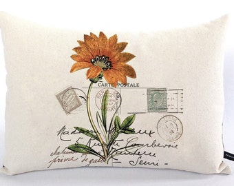 French floral postcard pillow cover orange daisy flower 12x16 cotton canvas Cottage Chic decor cushion #214 FlossieandRay