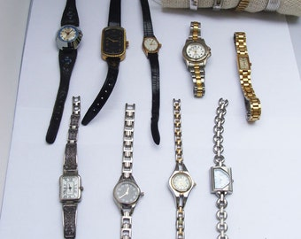 VINTAGE Lot 13 Ladies Watches, Collection of Vintage Watches Chateau, Solina, Timex, Pulsar, Milan, Peugot, Caravelle
