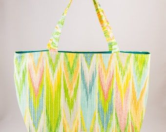 Shopping bag, Market bag, Tote bag, Washable tote, Chevron, Teal blue, Green, White, Pink, Blue, Yellow