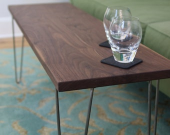 Modern Narrow Coffee Table / Bench with Stainless Steel Hairpin legs in Solid Walnut or White Oak