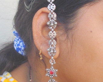 vintage antique tribal old silver earrings with hair chain traditional jewelry