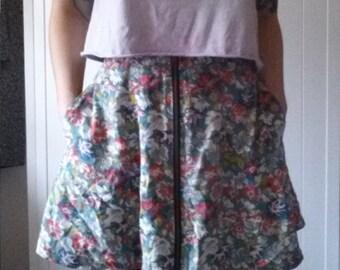 Grunge blue Floral zip up high waist mini skirt  90's/kitsch/indie/retro/hipster/boho