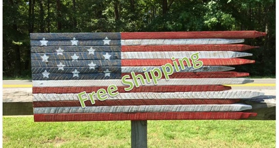 Rustic American Flag Constructed from Vintage Tobacco Sticks (Free Shipping)
