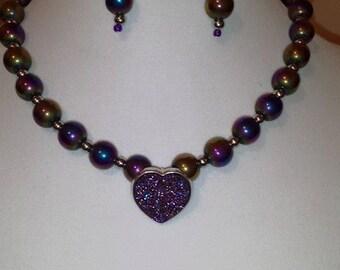 Pink Heart Necklace - Pink Metallic Hue Necklace Earrings Set - Metallic Jewelry Set - Multi Color Glass Bead Jewelry Set - Earrings - Women