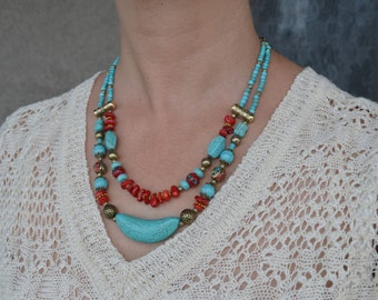 Turquoise Necklace, Multistrand Necklace, Nepal Beads Necklace, Turquoise, Coral Necklace, Tribal, Nepalese Jewelry (584)