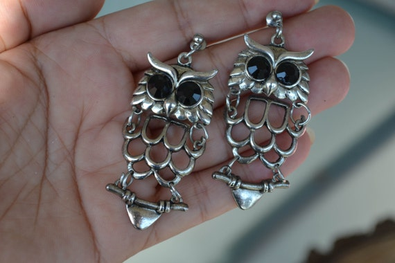 Owl Earrings Silver Owl Earrings Antique Silver by LKArtChic