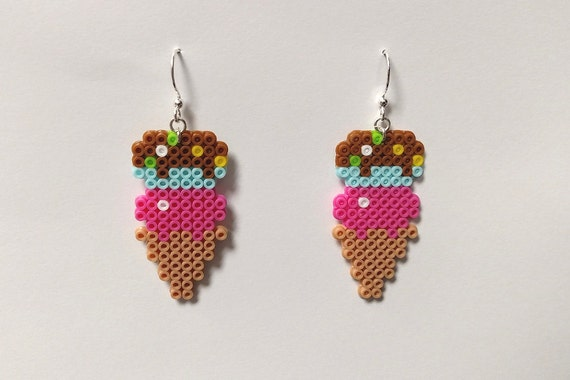 1pair Of Perler Bead Ice Cream Earrings By Jacobandrade808