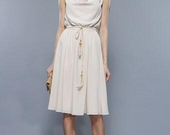 Summer Ivory Dress, Flared Dress Milk Dress With Cotton-Lined Formal Dress Beige Bridesmaid Dress Elegant Clothes