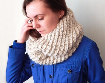 Сircle scarf, knitted oversized cowl snood, knitted women's cowl, bulky cowl snood