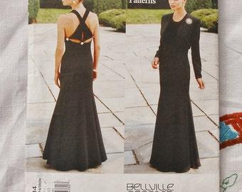 Vintage dress pattern, Vogue 1884, Designer Original, Bellville Sassoon, jacket and evening dress, 1996, size 8-10-12, cut at size 8
