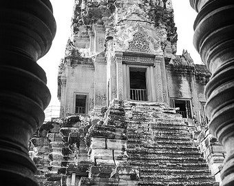 Angkor Wat, Siem Reap, Cambodia, Travel Photography, Temple, Fine Art, Photojournalism, black and white, Home Decor, Architecture, Tower
