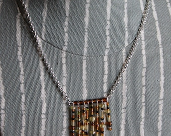 Beaded Fringe Chevron Necklace