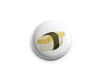 Sushi button - Egg Sushi - Sushi Pinback Button, Magnet, or Flair, egg badges, pinback buttons, sushi food pins