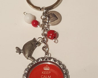 Keep Calm and Carry On red bottlecap keychain