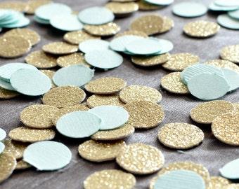 """Paper Confetti, 200pc 3/4"""" Mint Gold Confetti, circle confetti, Birthday Party decor, wedding decor, table decor"""