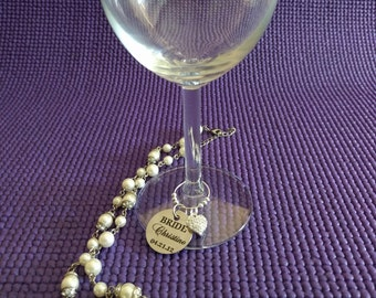 Personalized Wedding wine charm, silver beads, Rhinestone heart charm, Personalized pendant, Wedding Favor, Bridesmaid gift, Party favors