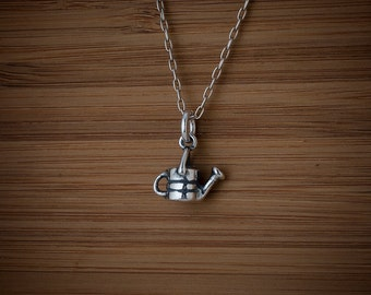 Garden Watering Can Charm or Earrings - STERLING SILVER- Chain Optional