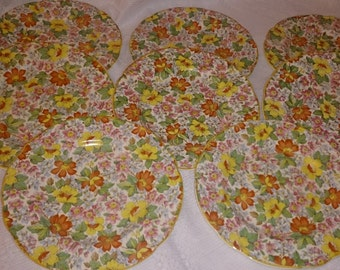 Pair of chintz afternoon tea/side/bread and butter plates. Predominantly red and yellow flowers,also pink and blue flowers and green leaves.