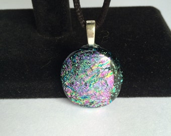 Pink, Purple and Gold Dichroic Fused Glass Pendant