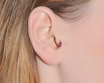 2mm Ruby Tragus Earring 16g, Gold nose ring stud, Tragus ring, Helix piercing, Cartilage earring, Daith jewelry, Rook jewelry