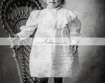 Instant Art Printable Download - Victorian Photograph Portrait Girl on Chair - Paper Crafts Altered Art Scrapbook - Antique Photograph