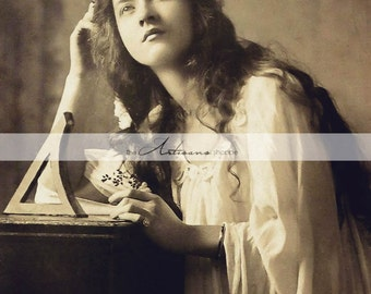 Digital Download Printable - Maude Fealy Portrait Photograph Antique Sepia - Paper Crafts Scrapbooking Altered Art - Woman Flowers Hair