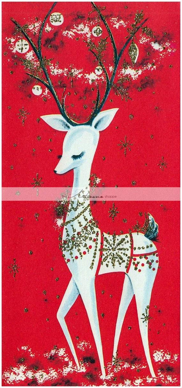Instant art printable download vintage white reindeer for Reindeer christmas card craft