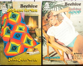 Vintage 80's Beehive Knitting Books - Afghans and Sweaters Retro 80's Knitting Patterns Books - Beehive Books Knitting and Crochet Patterns