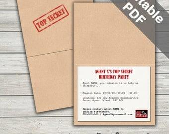 Secret Agent Party Invitations. Spy Party Printable. Editable PDF. Instant Download.