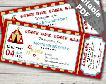 circus invitation  etsy, Party invitations