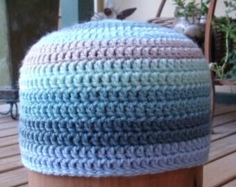 Stripey Blue Beanie Hat / Child or Toddler / Wool