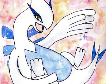 SALE - ORIGINAL - Lugia Pokemon watercolour painting