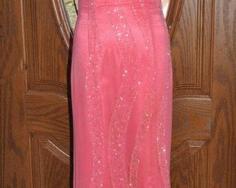 Mon Cherie Full Length Swarovski Crystal Beaded Formal Gown, Size 2, Salmon Beaded Prom Dress, Full Length Hand Beaded Gown, Formal Dress