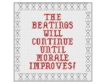 The Beatings Will Continue Until Morale Improves, Pirates, Cross Stitch Pattern, Home Decor